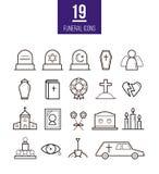 De rituele vectorpictogrammen van de lijnstijl Begrafenisvoorwerpen stock illustratie