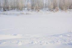 De rivier bevroor in de winter Ijs op de rivier stock foto