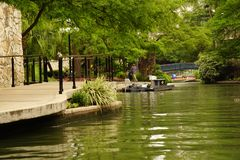 De rivier bij de riviergang San Antonio stock foto's
