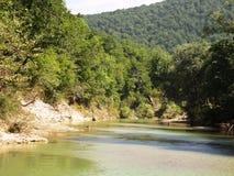De rivier in de bergen van de Kaukasus Stock Foto