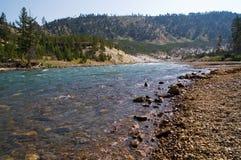 De rivier, de vallei en de stroomversnelling van Yellowstone stock foto