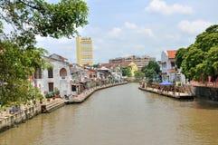 De Rivier die door Melaka vloeien Stock Foto