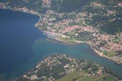 De rivier die van Mera meer Como voedt Stock Foto's
