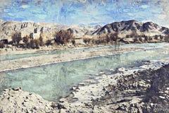De rivier en de berg van het Leh ladakh Landschap Digitaal Art Impasto Oil royalty-vrije stock afbeelding