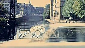 De rivier en de bruggen van Straatsburg stock footage