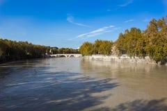De Rivier en de voetgangersbrug Ponte Sisto, Rome, Italië van Tiber Stock Afbeeldingen