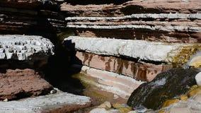 De rivier heeft onder de rotsen voor duizenden jaren gegraven stock video