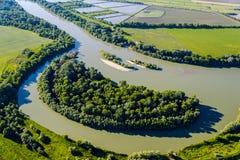 De rivier, hoogste mening Royalty-vrije Stock Afbeeldingen