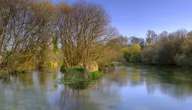 De Rivier Itchen in de lente in Ovington, Hampshire, het UK stock afbeelding