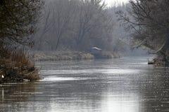 De rivier Maart in Lager Oostenrijk op de pensionair aan Slowakije, royalty-vrije stock afbeeldingen