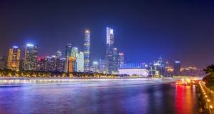 De Rivier Nightscape, de Nieuwe Stad van de Guangzhouparel van Zhujiang royalty-vrije stock foto's