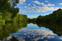 De rivier onder bomen in de zomeravond Royalty-vrije Stock Foto's