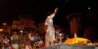 De Rivier Puja Ceremony, Varanasi India van Ganges Royalty-vrije Stock Afbeeldingen