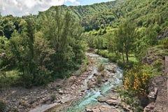 De rivier Santerno in Firenzuola, provincie van Florence, Toscanië Stock Fotografie