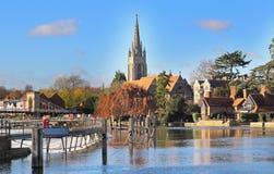 De Rivier Theems in Marlow in Engeland stock foto