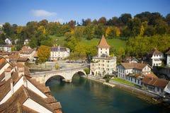 De Rivier van Aare, Bern Zwitserland Stock Foto