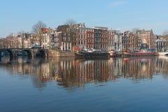 De Rivier van Amstel, Amsterdam Stock Foto