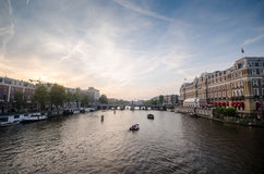De Rivier van Amstel in Amsterdam Royalty-vrije Stock Fotografie