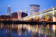 De Rivier van Cleveland Ohio Downtown City Skyline Cuyahoga stock foto