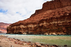 De Rivier van Colorado bij Mijl Nul van de Grote Canion stock foto's