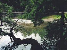 De rivier van de berg Bergbrug Royalty-vrije Stock Foto