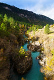 De rivier van de berg in de herfst Stock Foto
