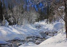 De rivier van de berg in de winter Royalty-vrije Stock Afbeelding