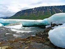 De rivier van de berg in ijs Royalty-vrije Stock Foto