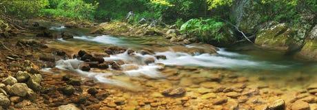 De rivier van de berg (panorama) Stock Foto's