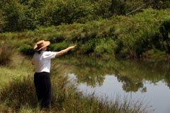 De rivier van de dame visserij royalty-vrije stock afbeelding