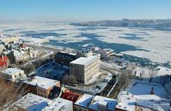 De Rivier van de Stad van Quebec en St. Lawrence Royalty-vrije Stock Afbeelding