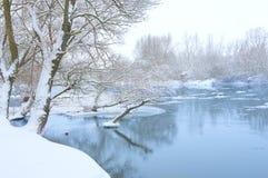 De rivier van de winter Stock Foto's
