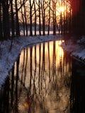 De rivier van de zonsondergang Stock Foto