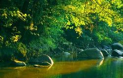 De rivier van de zonsondergang royalty-vrije stock foto