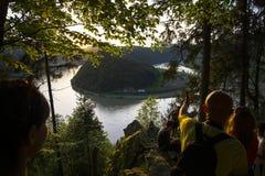 De rivier van Donau bij zonsondergang Stock Foto's