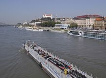 De rivier van Donau, Bratislava, Slowakije royalty-vrije stock afbeelding