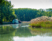 De rivier van Donau in de lente met de visserij van plattelandshuisje Stock Afbeelding