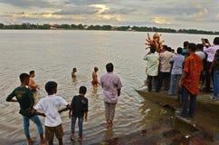 De Rivier van Ganges in India Stock Foto