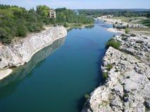 De Rivier van Gard in Pont Du Gard in zuidelijk Frankrijk, Royalty-vrije Stock Afbeelding
