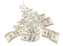 De rivier van het geld, geïsoleerdee Amerikaanse honderd nota's Stock Foto's