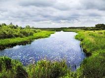 De rivier van het moeras onder bewolkte hemel Stock Foto's