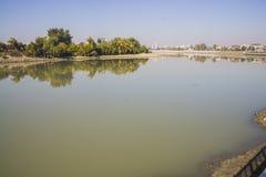 De rivier van Kuban in Krasnodar Stock Foto's