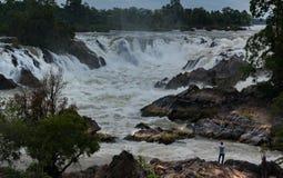 De Rivier van Laos Mekong, Pakse-waterval Royalty-vrije Stock Fotografie