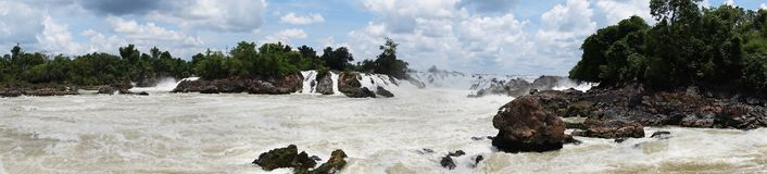 De Rivier van Laos Mekong, Pakse-waterval Stock Foto