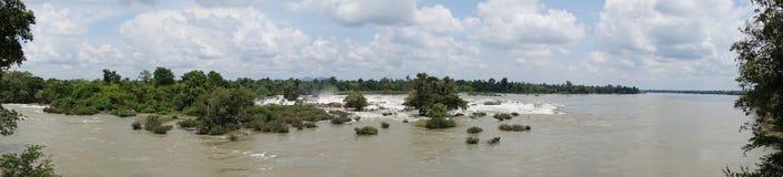 De Rivier van Laos Mekong, Pakse-waterval Royalty-vrije Stock Afbeelding
