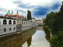 De rivier van Ljubljana Stock Foto's