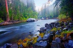 De Rivier van Merced - Yosemite stock afbeeldingen
