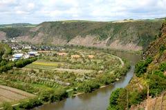 De rivier van Moezel dichtbij Winningen in Duitsland stock fotografie