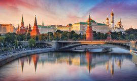 De Rivier van Moskou, van het Kremlin en Moskva-, Rusland royalty-vrije stock foto's
