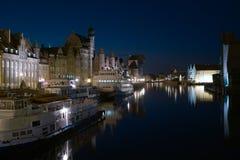 De Rivier van Motlawa, Gdansk bij nacht. Royalty-vrije Stock Fotografie